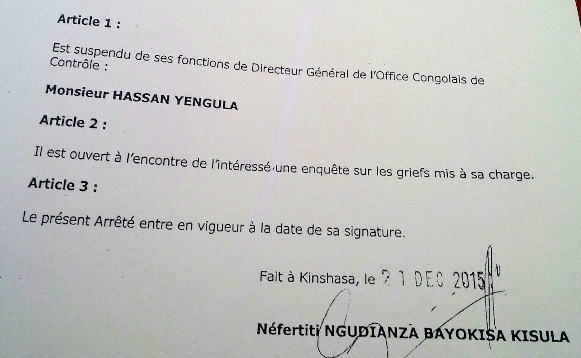 RDC : Voici l'arrêté qui suspend  Yengula de l'OCC !