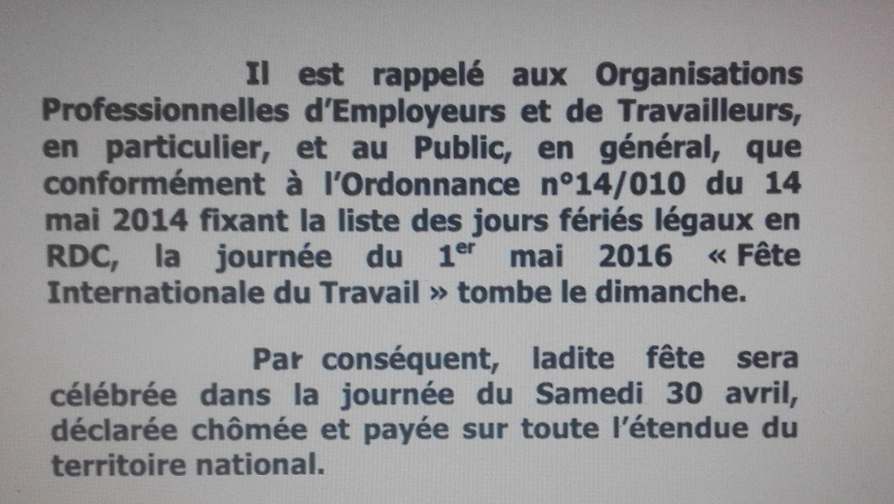 RDC : La fête du travail ramenée à samedi 30 avril
