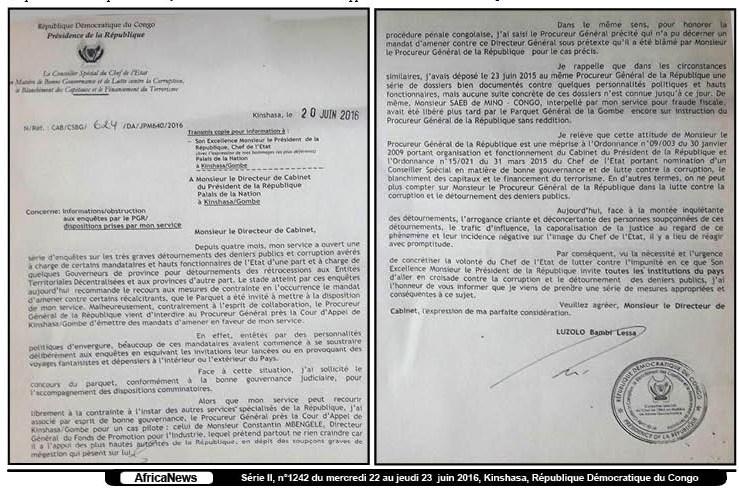 RDC : Luzolo Bambi accuse le PGR à J. Kabila pour obstruction à ses missions