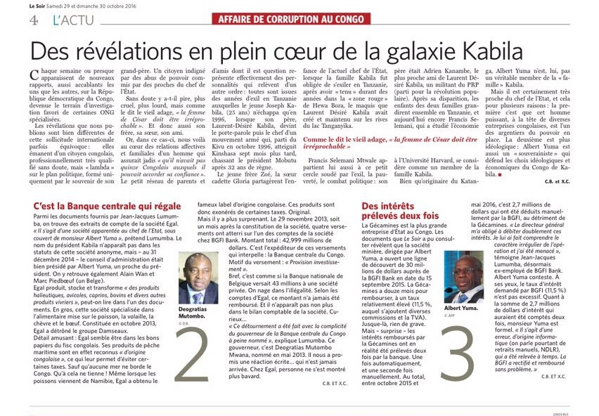 RDC : Transferts maffieux de fonds à la société EGAL, la BCC réagit !