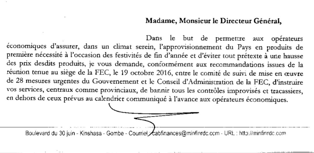 RDC : Le Ministre des Finances suspend tous contrôles fiscaux et douaniers pour 3 mois !