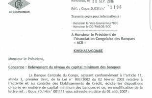 RDC : La BCC relève le niveau de capital minimum des banques de 10 à 30 millions USD