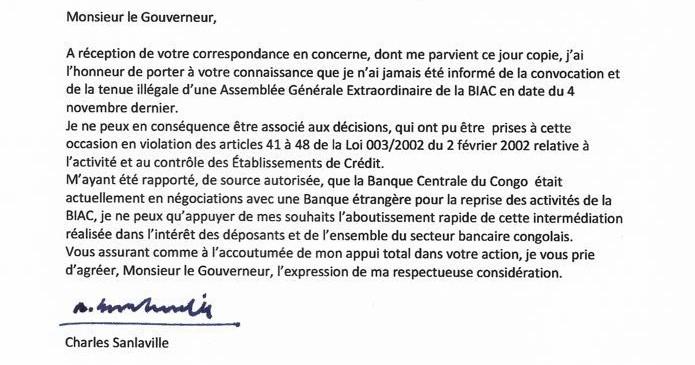 RDC : Dossier BIAC, Charles Sanlaville se dissocie de la démarche illégale des Blattner [Document]