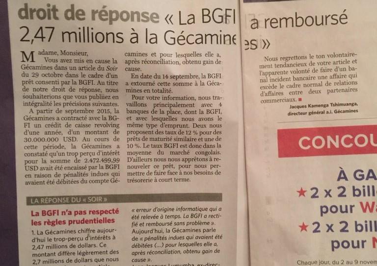 RDC : Affaire BGFI Bank, « Le Soir » insiste malgré les mises au point de la Gécamines et d'Egal !