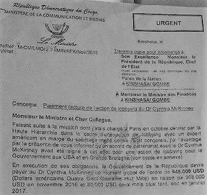 RDC : Dossier 448 000$ de lobbying, Cynthia McKinney affirme n'avoir touché aucun centime du gouvernement
