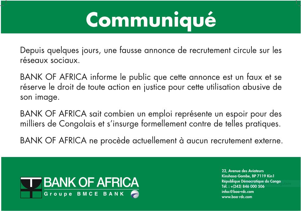 RDC : Bank Of Africa dénonce un faux recrutement en son nom sur les réseaux sociaux [Communiqué]