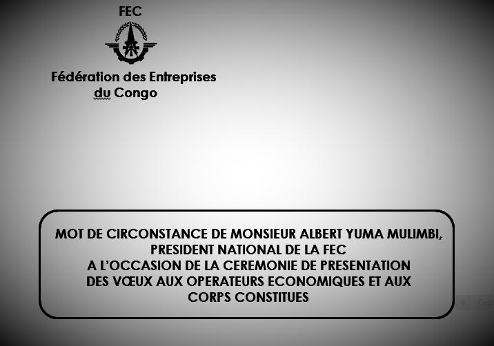 RDC : Vœux de la FEC pour l'année 2017 [Discours intégral d'Albert Yuma]