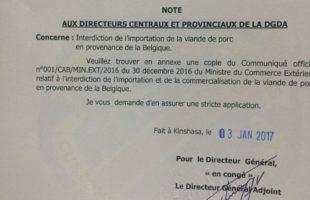 [URGENT] - Raison de l'interdiction d'importer de la viande de porc belge en RDC