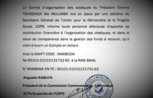 RDC : Obsèques de Tshisekedi, l'UDPS ouvre un compte à la Rawbank pour les contributions