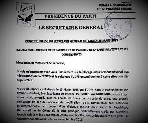 RDC : Impasse politique, le mot d'ordre de l'UDPS en trois points !
