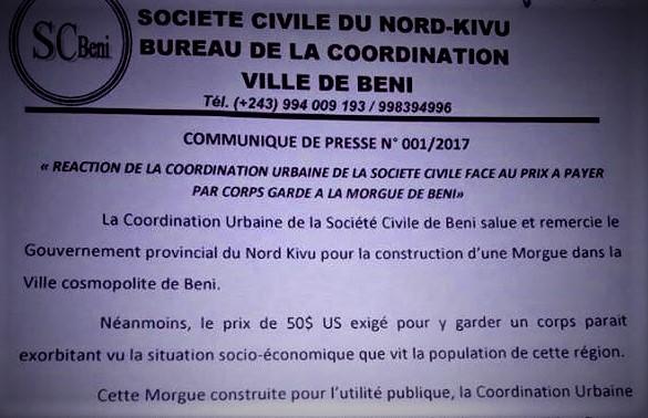 RDC : 50$ pour garder une dépouille à la Morgue de BENI jugés «exorbitants»