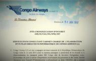 RDC : Congo Airways recherche un Consultant Cabinet chargé de l'élaboration d'un Plan Directeur Informatique
