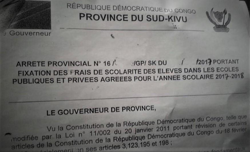 Bukavu : Un arrêté provincial falsifié revoit à la hausse les frais scolaires !
