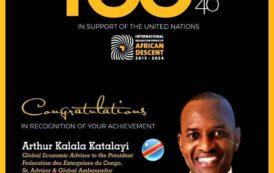 Nations Unies : Arthur Katalayi nominé MIPAD dans le Top 100 Mondial 2017 avec Beyoncé, Serena Williams, Tiger Woods