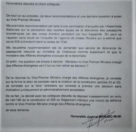 RDC : Traçabilité de fonds d'octroi de passeports, une enquête parlementaire préconisée !