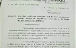 RDC : Dossiers Glencore et Sicomines, le Ministre des Mines invité à l'Assemblée nationale !