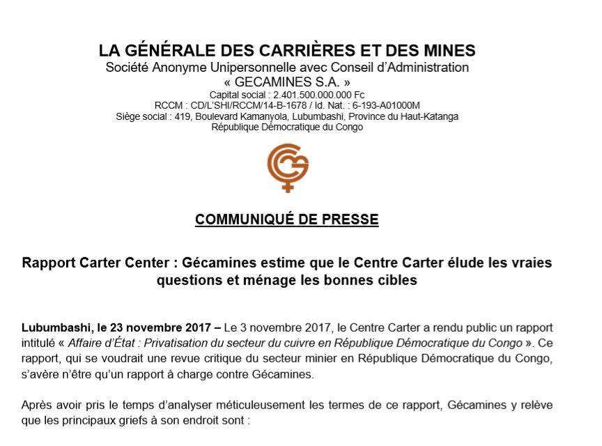 RDC: Gécamines dénonce les 3 faiblesses majeures du Rapport Carter Center!
