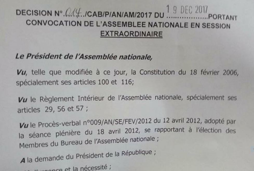 RDC : Assemblée nationale, la session extraordinaire convoquée au 2 Janvier 2018 !