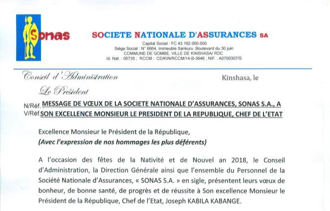 RDC: Nouvel an 2018, vœux de la SONAS à Joseph Kabila!