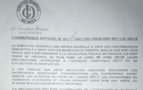 RDC: la DGI rappelle l'échéance fiscale du 30 avril pour l'impôt sur les bénéfices
