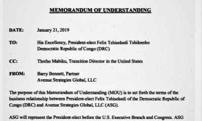 RDC/USA: Tshisekedi engage un cabinet de lobbying à 90000 USD pour quatre services 20
