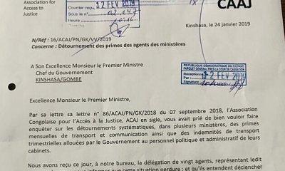 RDC : ACAJ dénonce les détournements des primes dans les ministères ! 25