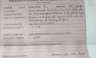 RDC : Tshisekedi reverse 163 300 USD au Trésor public [documents] 17