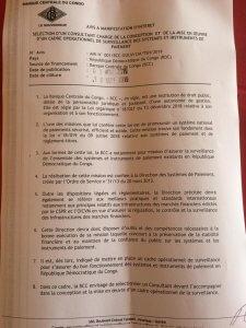 RDC: la Banque centrale lance un Avis à manifestation d'intérêt 2