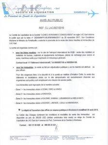 RDC: LAC Sarl, le comité de liquidation fixe une séance publique au 30 août 2019 2