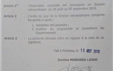 RDC: Assemblée nationale, la session extraordinaire convoquée du 19 août au 7 septembre 22