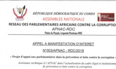 RDC : APNAC lance un avis d'appel d'offre pour un projet de prévention et lutte contre la corruption! 7