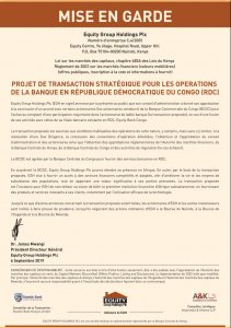RDC : vers l'acquisition de BCDC par Equity Group 2