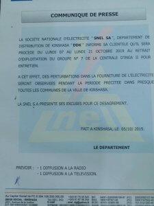 Kinshasa: fourniture de l'électricité, SNEL annonce des perturbations du 7 au 21 octobre 2019 2