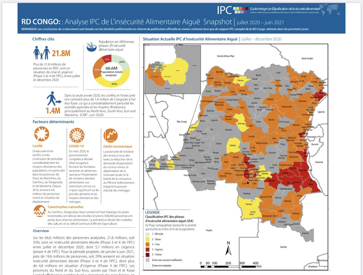 RDC : plus de 21,8 millions de congolais en situation d'insécurité alimentaire ( IPC 2020) 1
