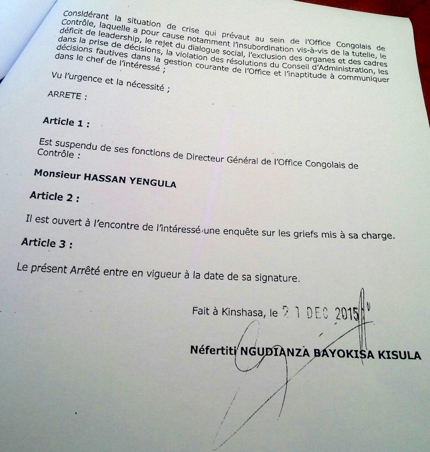 Arrêté portant suspension de Yengula Page 2