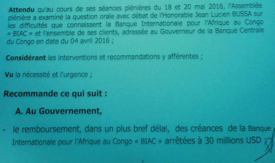 RDC : Le gouvernement appelé à rembourser les 30 millions USD de la BIAC 1