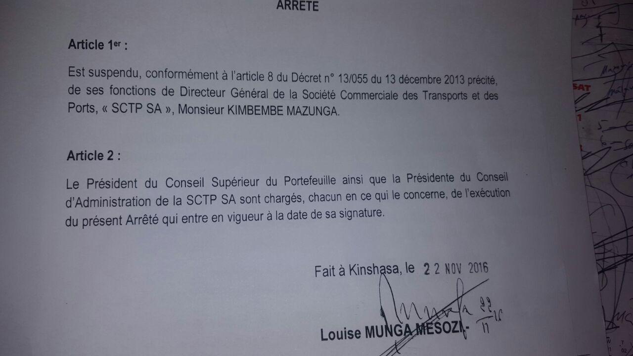 @Zoo_eco Arrêt portant suspension de Kimbembe de la SCTP