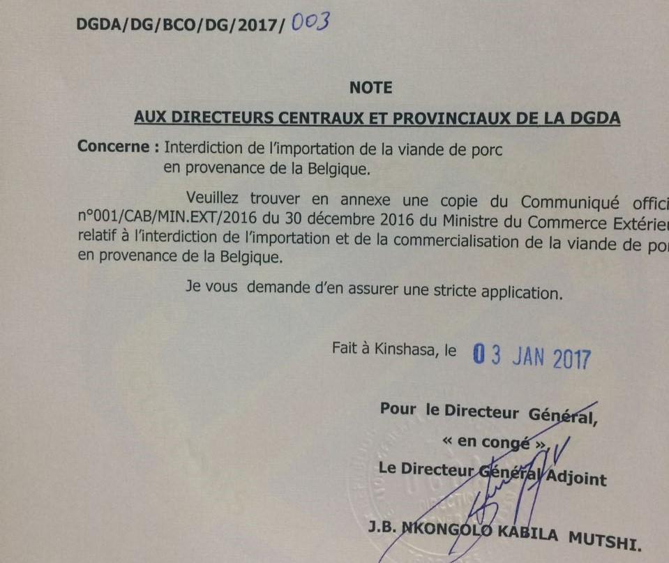 [URGENT] - Raison de l'interdiction d'importer de la viande de porc belge en RDC 11