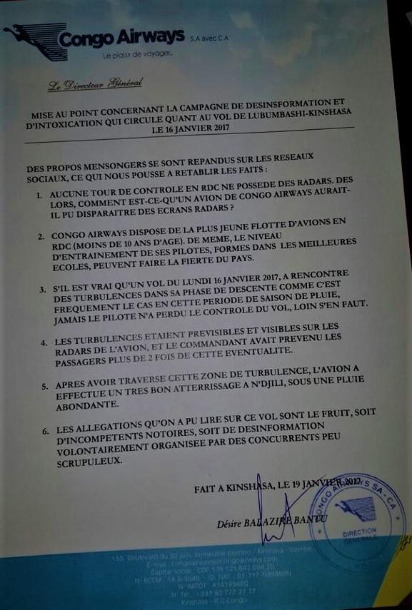 Mise au point Congo Airways – @Zoom_eco