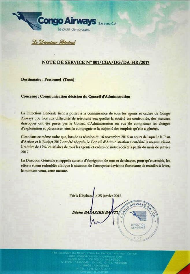 Note Service Congo Airways – Réduction Salaire – @Zoom_eco