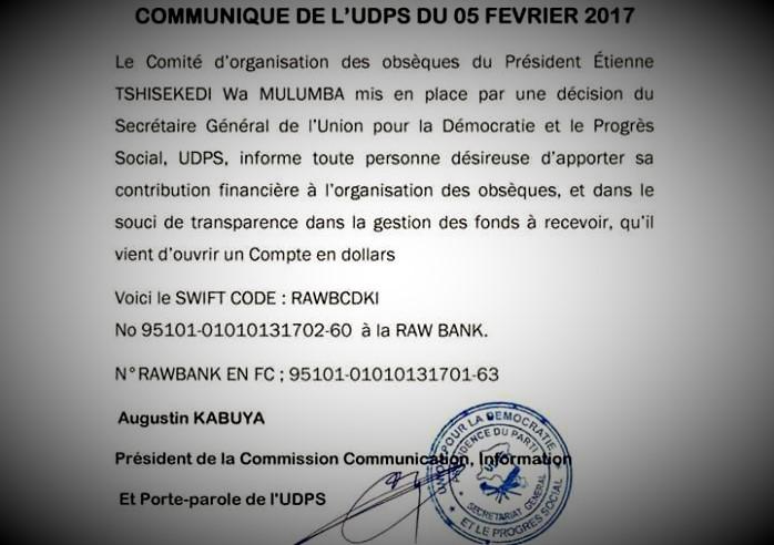 RDC : Obsèques de Tshisekedi, l'UDPS ouvre un compte à la Rawbank pour les contributions 96