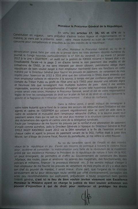 Dénonciation Mirindi OGEFREM