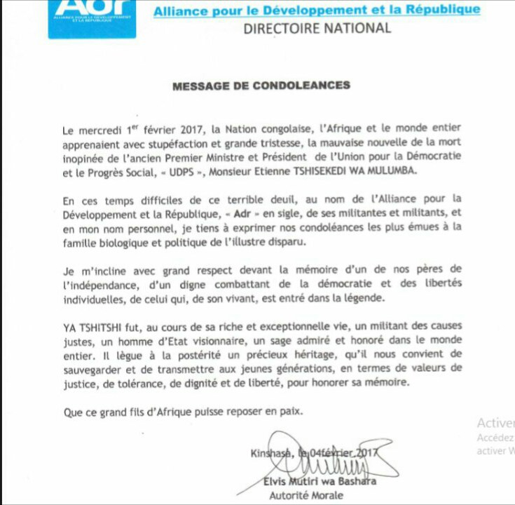 Message de Condoléances ADR – Elvis Mutiri
