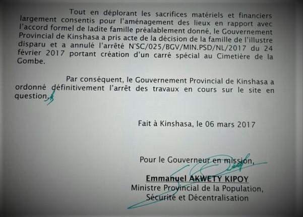 Lettre du Emanuel AKWETY Arrêt des travux Mausolée –