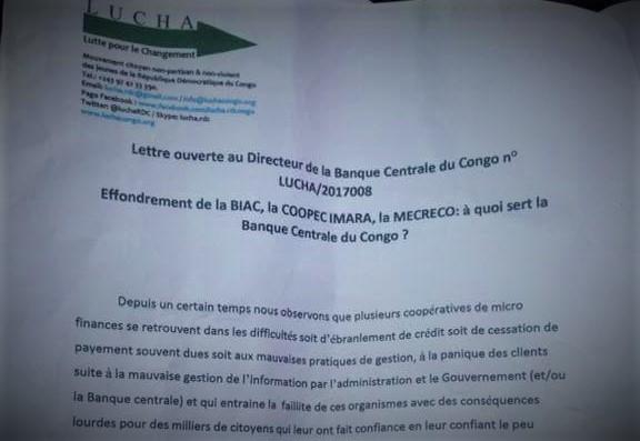 RDC : Faillite de la Biac, Mecreco… la LUCHA interpelle la BCC 90