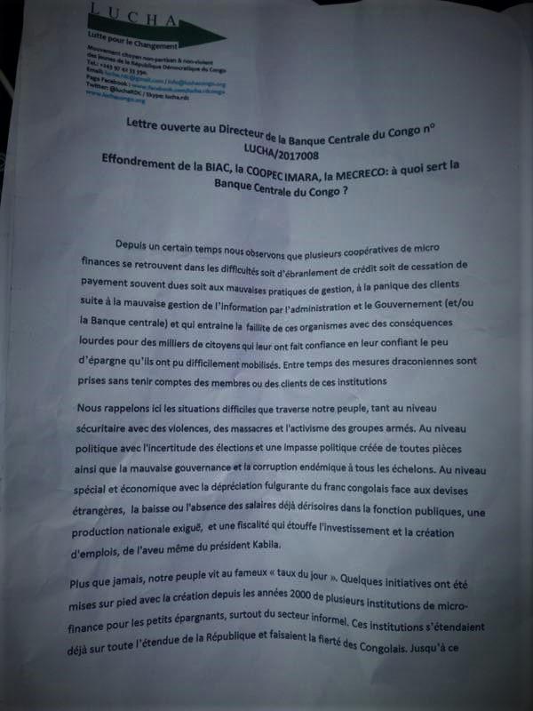 Déclaration Lucha BCC