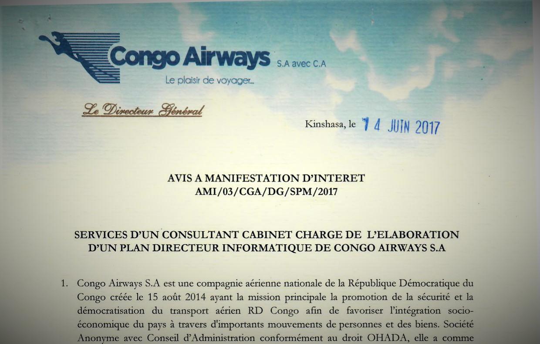 RDC : Congo Airways recherche un Consultant Cabinet chargé de l'élaboration d'un Plan Directeur Informatique 3