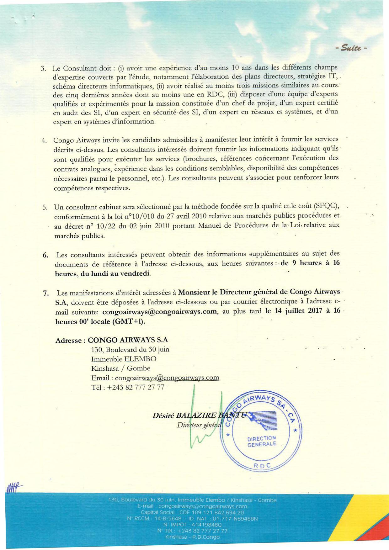 Avis à manifestation d'intéret Congo AIrways suite @Zoom_eco