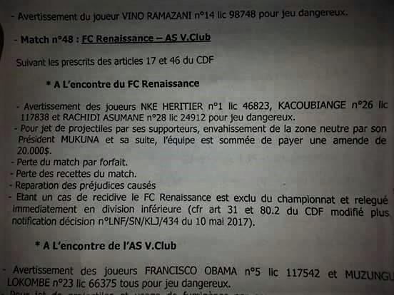 RDC : Exclu de la LINAFOOT, le FC Renaissance sommé de payer 20 000 USD d'amende !