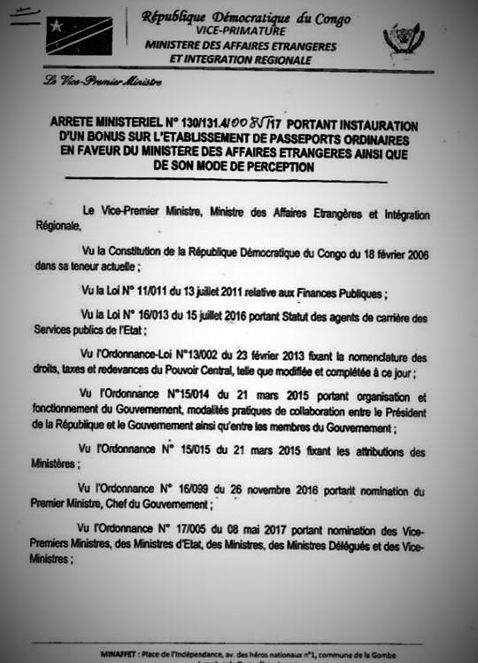 Arreté Ministériel portant Instauration d'un bonus de 10$ sur le prix du passeport @Zoom_eco